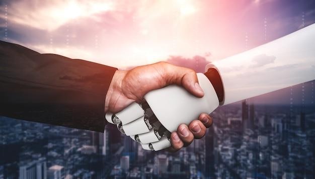 Aperto de mão do robô humanóide para colaborar no desenvolvimento de tecnologia futura pelo cérebro pensante de ia