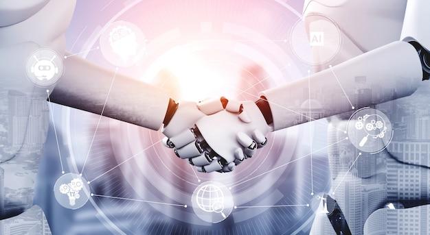 Aperto de mão do robô humanóide para colaborar no desenvolvimento de tecnologia futura