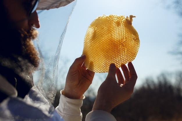 Apicultor segurando e examinando um fragmento de favo de mel vazio