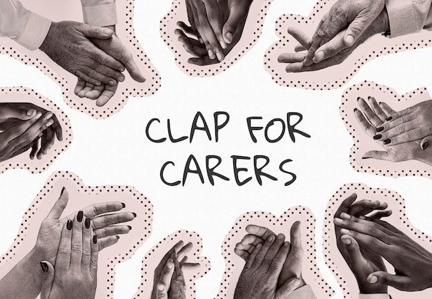 Aplausos para nossos cuidadores, aplausos de mãos