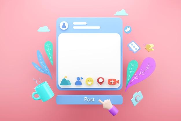 Aplicação de quadro de postagem de mídia social vazia em branco on-line para conceito de publicidade de texto, renderização 3d