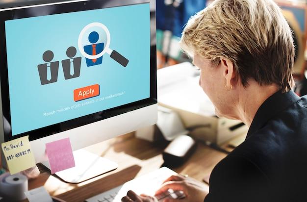 Aplicação ocupação profissão job seeker concept