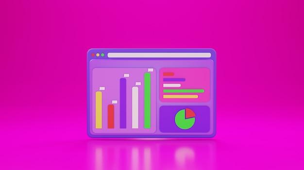 Aplicativo analítico com gráfico de ícones e fundo rosa em design 3d