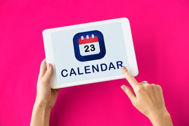 Aplicativo de calendário em um tablet