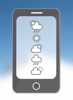 Aplicativo de clima no smarphone em azul