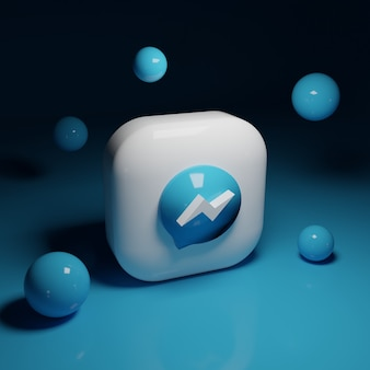 Aplicativo de logotipo 3d do facebook messenger