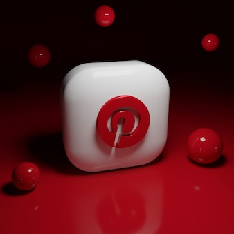 Aplicativo de logotipo 3d do pinterest