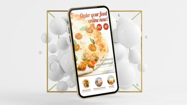 Aplicativo de pedido de comida online na tela do celular com fundo de bolhas abstratas renderização em 3d