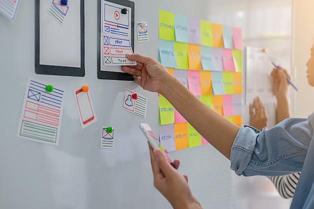 Aplicativo de planejamento do creative web designer e desenvolvimento de estrutura de layout de modelo