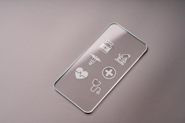 Aplicativo de saúde on-line no telefone inteligente