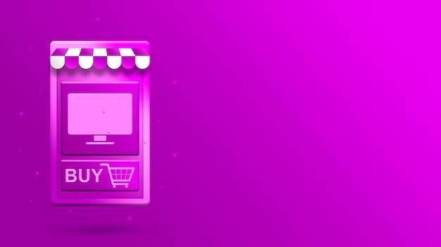 Aplicativo móvel de compras online 3d com ícone de compra de monitor