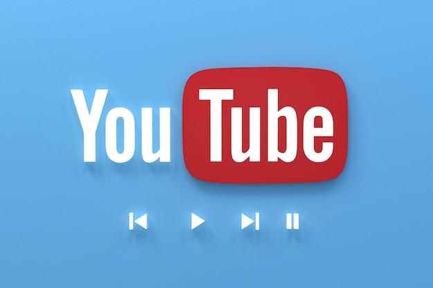 Aplicativo youtube 3d ícones de mídia social logo renderização em 3d