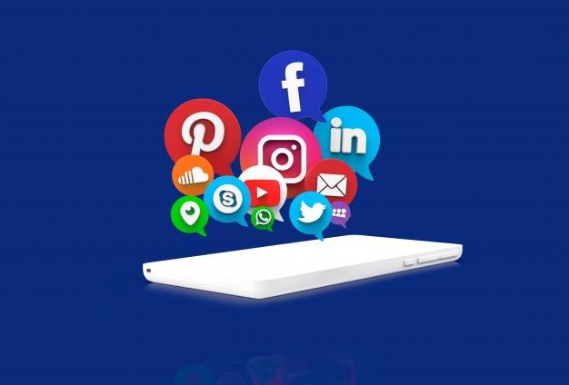 Aplicativos de redes sociais em células brancas
