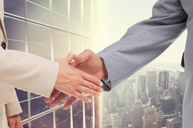 Apoio à cooperação urbana handshake acordo