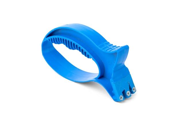 Apontador azul para faca em fundo branco