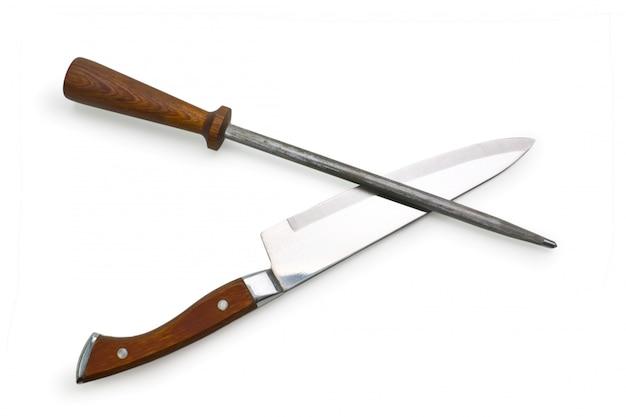 Apontador de faca isolado em um fundo branco