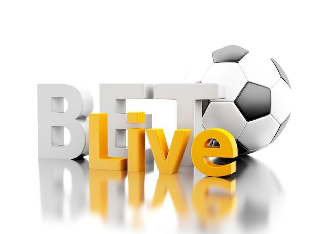 Aposta 3d viva com uma bola de futebol. conceito de apostas.