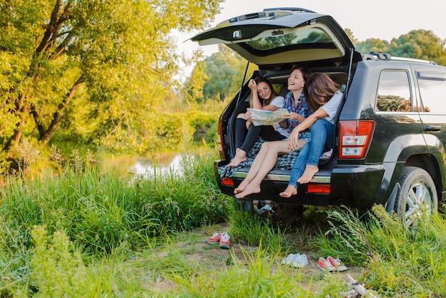 Apreciando o resto e socializando em uma viagem de piquenique com seus melhores amigos.