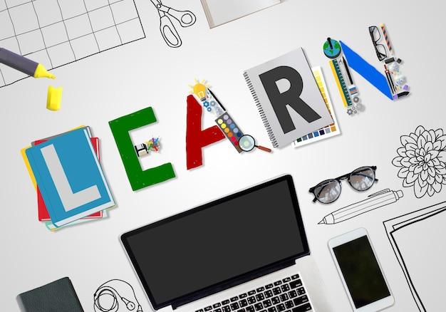 Aprenda aprendizagem educação conceito de estudo