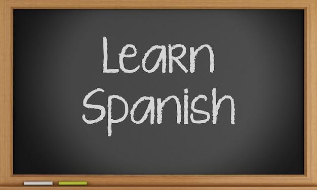 Aprenda espanhol escrito no quadro-negro.