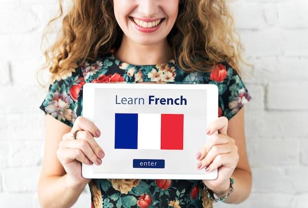 Aprenda o conceito de educação online da língua francesa Foto gratuita