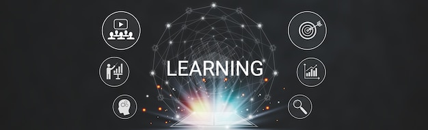 Aprendendo tecnologia educacional da internet em casa, tamanho de banner com ícones gráficos