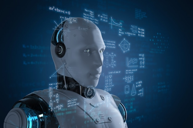 Aprendizado de robô ou aprendizado de máquina com interface hud educacional