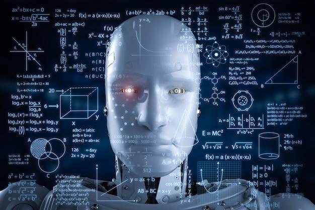Aprendizagem de robôs de renderização 3d ou aprendizagem de máquina com interface hud educacional