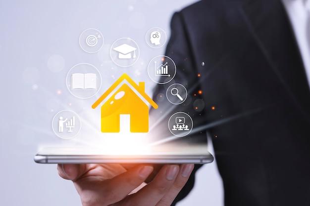 Aprendizagem online e reuniões com seminários em casa