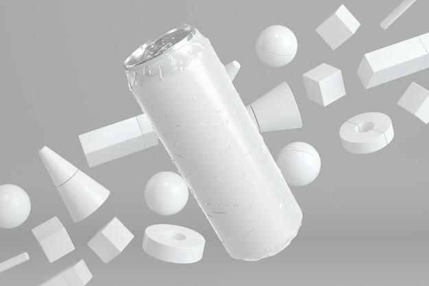 Apresentação abstrata de lata de alumínio