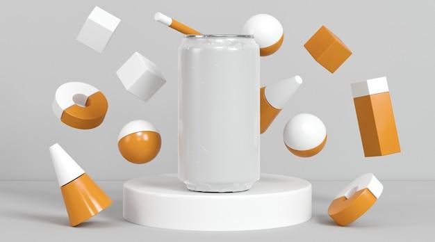 Apresentação abstrata de lata de refrigerante pop
