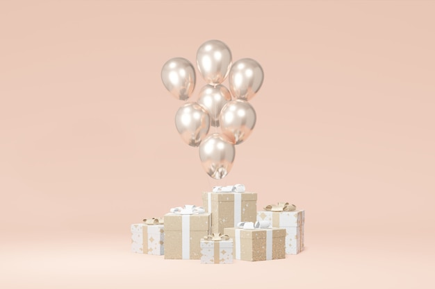 Apresentação de caixa de presente festivo, fundo bege balão. venda de loja de publicidade. sexta-feira negra do conceito, natal, ano novo. renderização em 3d
