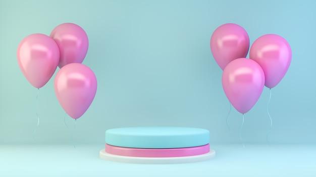 Apresentação de produto rosa e azul com balões
