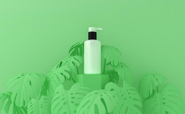Apresentação de produtos cosméticos com folhas tropicais. embalagem em branco. renderização em 3d