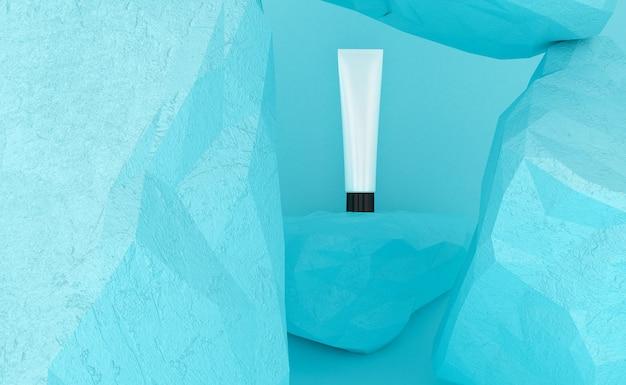 Apresentação de produtos cosméticos. embalagem em branco. renderização em 3d
