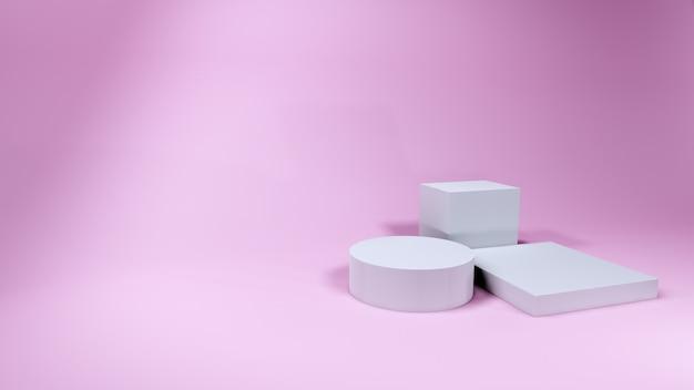 Apresentação de produtos de pódios cosméticos em rosa, renderização em 3d