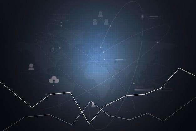 Apresentação digital relacionada ao desempenho de um negócio usando gráfico
