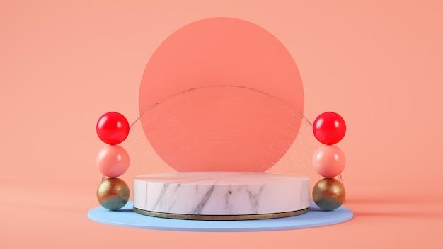 Apresentação do produto em pedestal com fundo de cilindros e esferas renderização em 3d