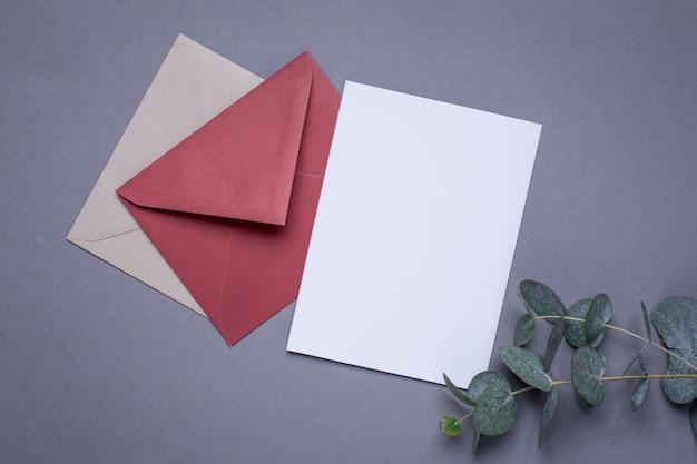 Apresentar cartão e planta verde em cinza