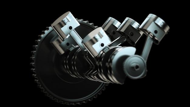 Aproxime-se do conceito de pistões do motor de automóveis