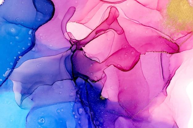 Aquarela abstrata de fundo gradiente azul e rosa com mancha dourada