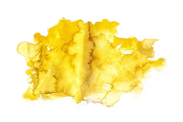 Aquarela amarela isolada no fundo branco, pintura a mão em papel amassado