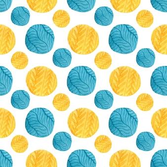 Aquarela amarelo e azul círculos padrão sem emenda.
