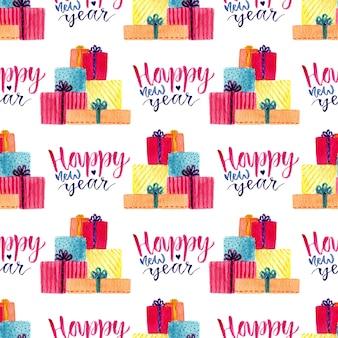 Aquarela ano novo padrão sem emenda com caixa de presente e caligrafia. ilustração para papel de embrulho
