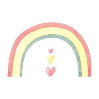 Aquarela arco-íris fofo com corações em branco