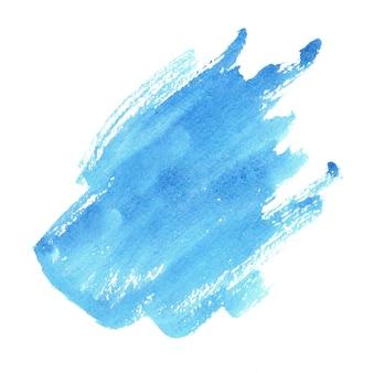 Aquarela azul abstrata em branco. salpicos coloridos no papel.