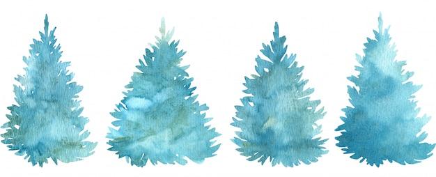 Aquarela azul árvores de natal. árvores de férias de coníferas. ilustração desenhados à mão.