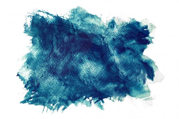 Aquarela azul escura, isolada no fundo branco, pintura a mão em papel amassado