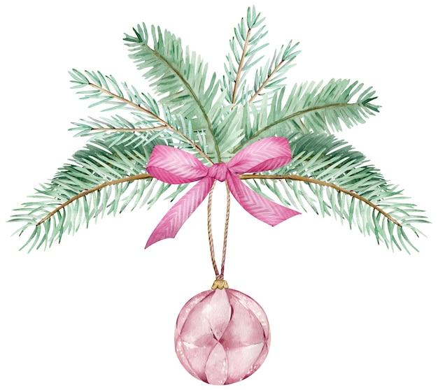 Aquarela bola rosa de natal pendurada em galhos de pinheiro e decorada com um laço rosa. ilustração desenhada à mão.