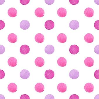 Aquarela bolinhas pintura em gradiente roxo e rosa manchado em padrão sem emenda em branco.